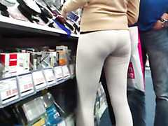 Lovely girl in skintight spandex pants in public