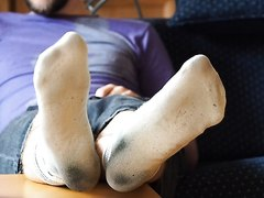 Worn white smelly socks and feet - slave view