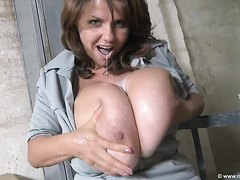 BustyMILF Sucking Huge Milky Boobs