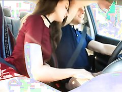 Couple play while driving