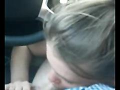 My cute GF blows me in the car
