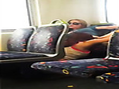 Amateur girl eats out pussy on the train