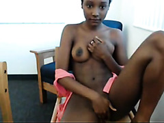 Black college girl flashes her pussy and small tits