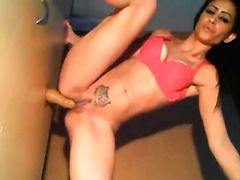 Teen fucks her self with face dick