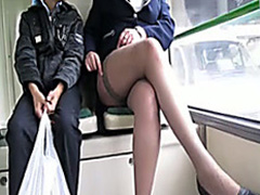 German beauty in sexy stocking tops on a train