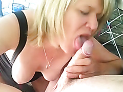 Wife sucks my penis sensually on our deck