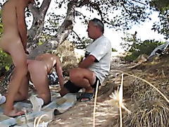 Chubby blonde mature makes a dude cum outdoors