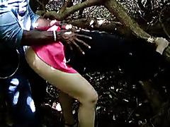 Black stranger fucks a white swinger woman in the forest