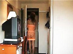 Asian girl pays for delivery nearly naked