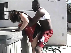 Interracial cuckold sex outdoors with white wife fucked