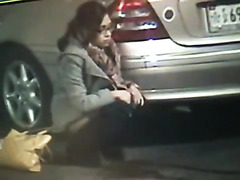 Girl pees desperately in public without thinking about it