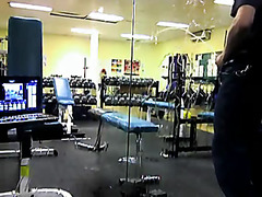 Miscreant pissing on the mirror in the gym