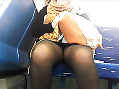 Nice upskirt video with curvy amateur in pantyhose