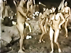 Vintage dance party with true nudist beauties