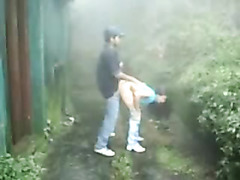 Blowjob and sex in the rain with cute Latina