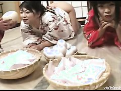 Two geisha women in lesbian scat play - part 1