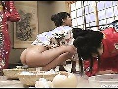 Two geisha women in lesbian scat play - part 2