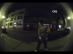 guy caught pissing outside door