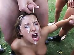 Outdoor bukkake with a beautiful girl
