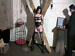 Fist fucking a submissive in the dungeon
