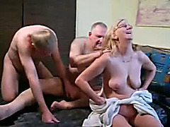 Bisexual mature husband and wife share new cock