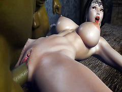 Beautiful 3D princess fucked by two orcs