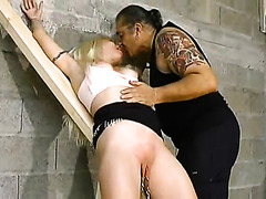 Submissive bound and abused by her master