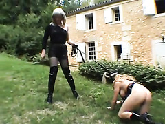 Outdoor pony play and training with sub girl