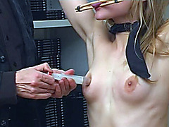 Beautiful delivery girl submits in BDSM porn