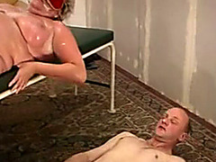 Kinky play with fat woman and a sub guy