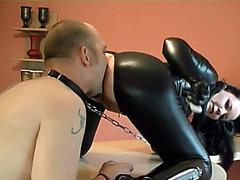Leashed slave eats out mistress asshole