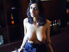 Indian girl flashes her big tits at a wine bar