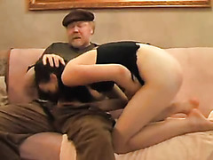 Cute girl sucks her shit off from old man's penis