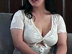 Japanese guy breastfeeding from her milky tits