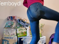 wetting diaper - wearing sexy spandex jeans jeggings
