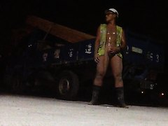 Outdoor Construction site nude masturbation