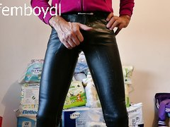 horny in tight leather lookalike spandex wetlook jeans