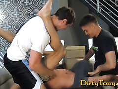 Hot guy takes on three guys bareback