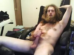 str8 hippie bearded man jerk off