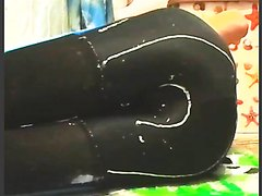 poop spandex legggings & enema black pantyhose