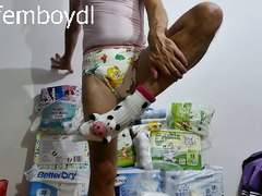 preparing for a long evening and night in diapers