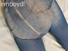put on spandex jeans jeggings over the huge wet diaper package