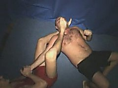 Russian teenager wrestling with foot domination