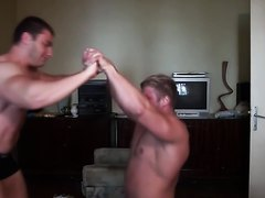 Two Young Bodybuilders wrestle and fight