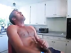 Jerking to Hot Gay Porn in the Kitchen