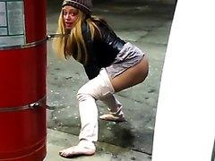 Sexy Ebony Cutie Pissing at a gas station