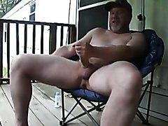 Redneck Dad strokes his big cock