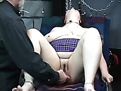 BDSM BBW cries in ecstasy on the table