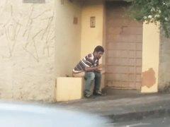 Man Taking A Shit Outside - video 5