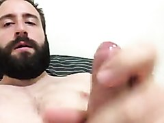 Bearded Bear Cums on Cam in Bed
